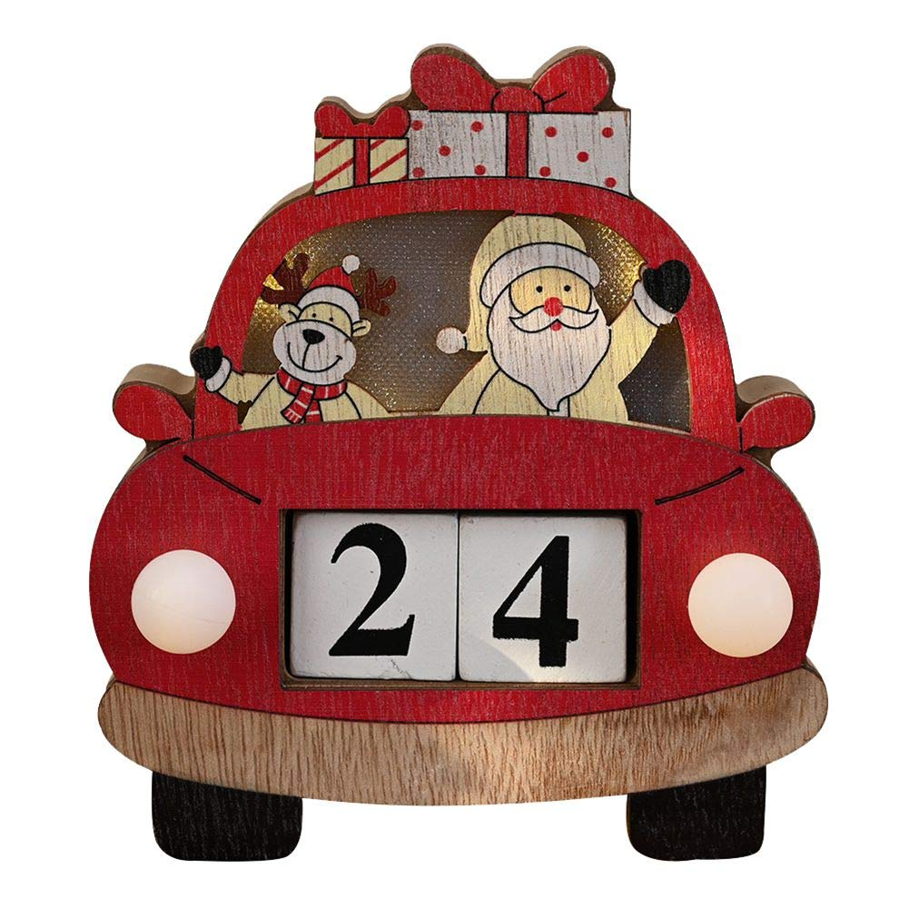 KATIESMALL KATIESMALL Christmas Wooden Vehicle Advent Calendar LED lit Christmas Countdown Calendar with Painted Blocks Holiday Home Decorations Decorative Supplies