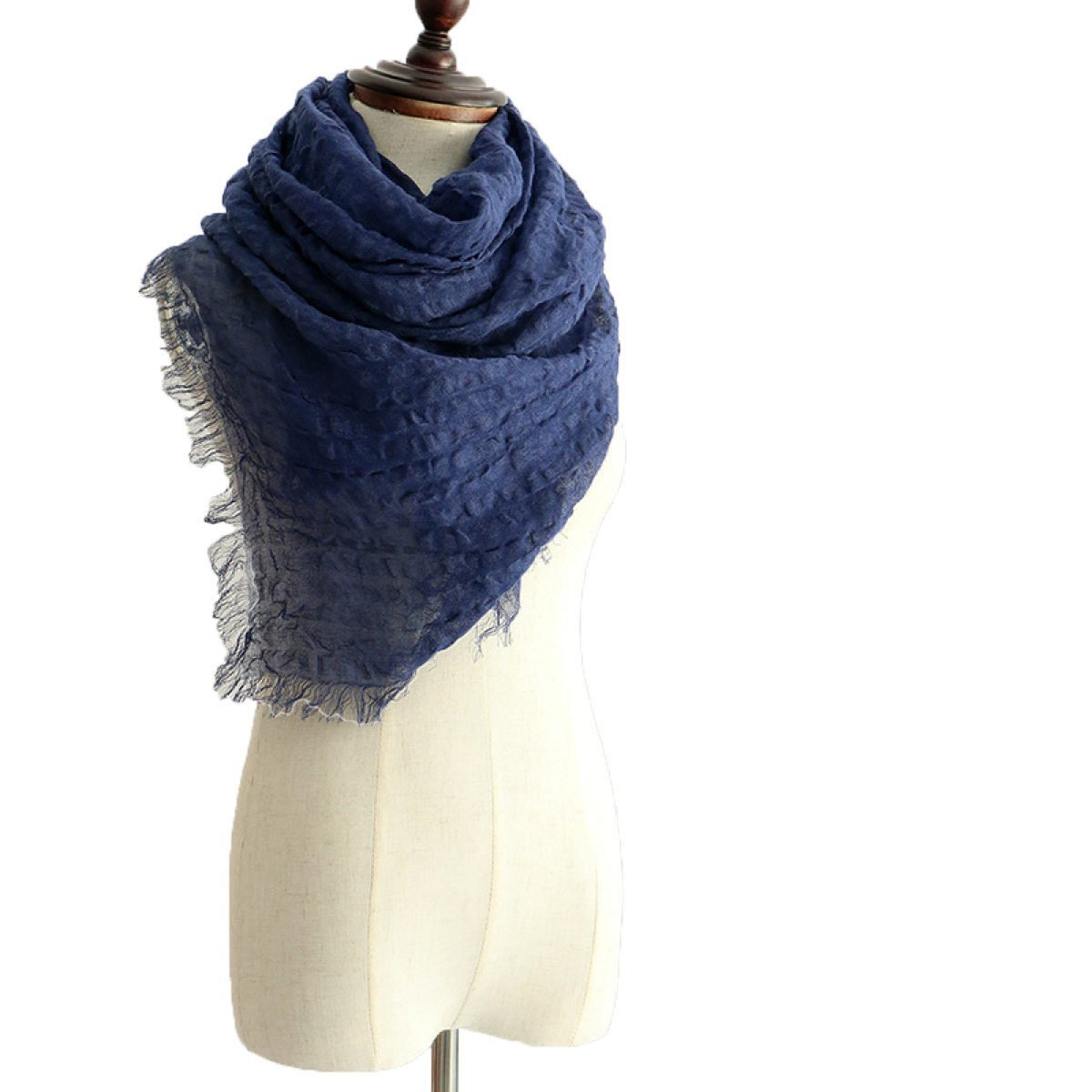 DIDIDD Bufandas de lino de color sólido, borlas finas de chal de otoño e invierno.,Azul,210 * 75cm