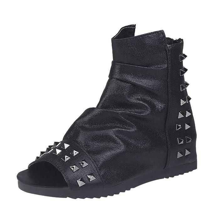 Sandalias Mujer Verano Sandalias con Plataforma Plana para Mujer Moda Mujer Retro Plataforma Plana Remaches Zapato Boca de Pescado con Cremallera ...
