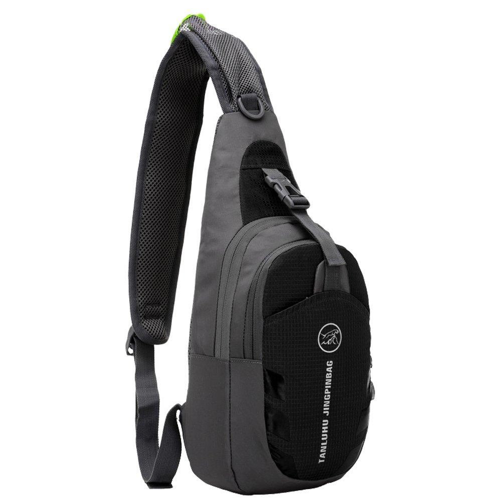 SLIN Ultralight (160G) Sport Chest Bag Sling Shoulder Unbalance Backpacks Crossbody Bag for Hiking Camping Gym Cycling Biking Dog Walking,Black