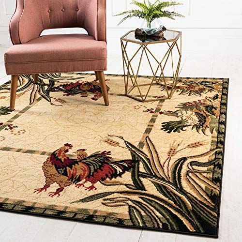 (Unique Loom Barnyard Collection French Country Cottage Roosters Cream Square Rug (6' x 6'))