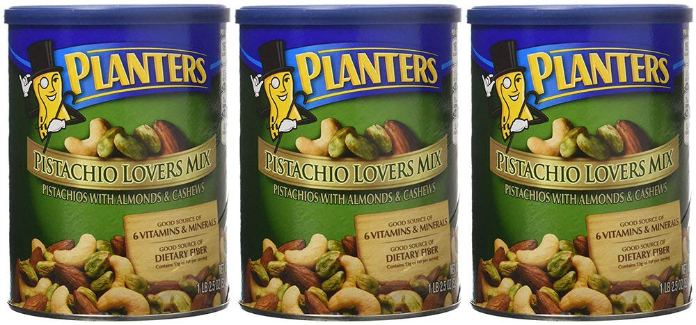 Planters Pistachio Lovers Mix, Salted, 18.5 Ounce, 3 Tubs