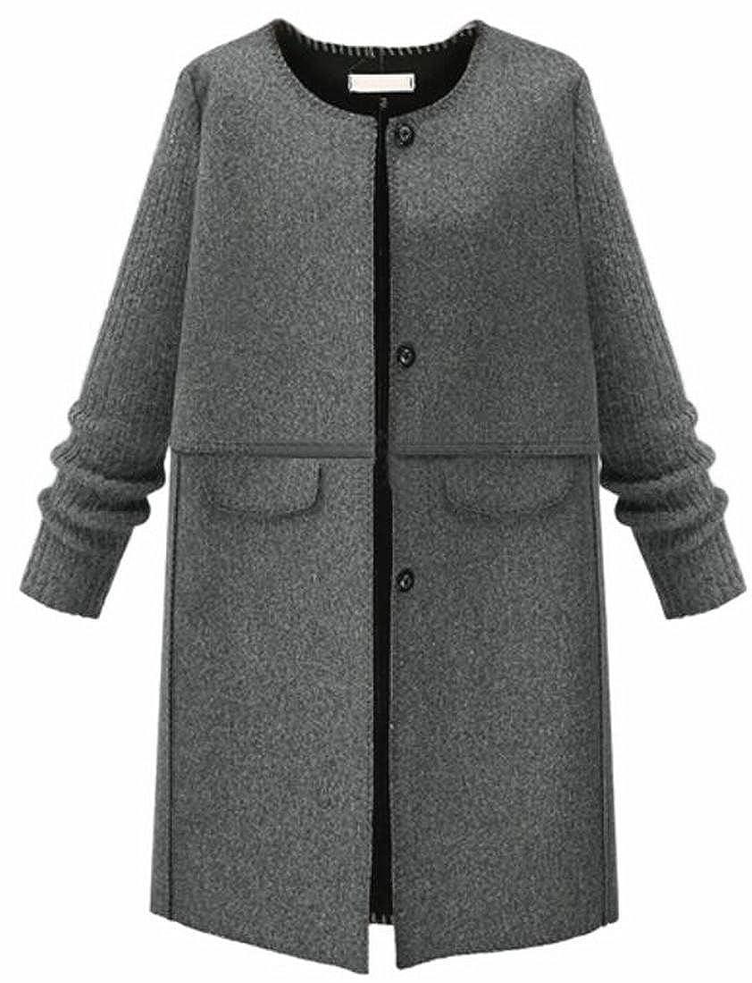 Jaycargogo Women's Plus Size Single-Breasted Wool Blend Pea Coat Classic Overcoats