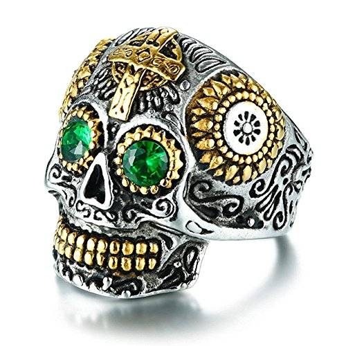 IFUAQZ Men's Vintage Stainless Steel Silver Gold Gothic Cross Sugar Skull Biker Ring with Green Eye CZ Stones Halloween Jewelry Size 13