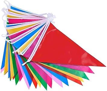 DoGeek Banderines Fiesta Multicolor Banderines de Tela Banderines Cumpleaños Banderines Decorativos para Triángulo Decoraciones de Celebración de la Fiesta de Cumpleaños Festival: Amazon.es: Juguetes y juegos