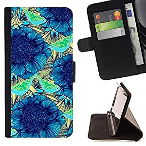 - Teal Blue Ink Flower Pattern - Estilo PU billetera de cuero del soporte del tir???¡¯????n [solapa de cierre] Cubierta- For Apple Iphone 5C £¨ Devil Case £©