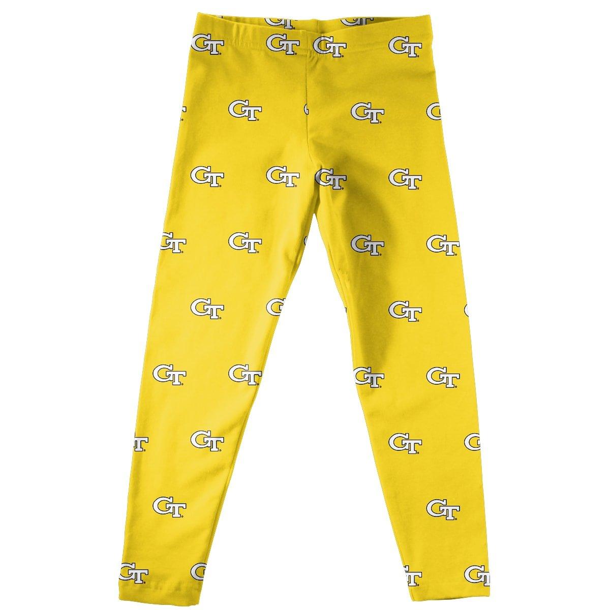 Vive La Fete Collegiate GA Tech Yellow Jackets Print Yellow Leggings