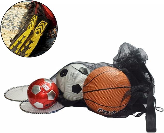 forepin Grand Sac en Maille Filet pour 12 Ballons(Non Inclus ) Sac Balles de Tennis Sac en Filet de Nylon Pliant Rangement de Jouets de Plage Durable R/éutilisable avec Fermeture /à Corde Id/éal