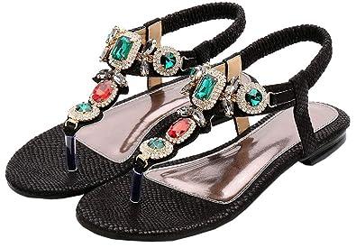 7585333c9e006 ... Flip Flop Wedge Sandals - 6. Amazon.com  AGOWOO Women Thong Sandals  Beach Jeweled Beaded Slip On Flat Sandles  Shoes