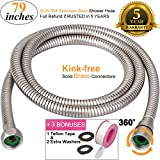 ThreeE Kink-free Shower Hose Extra-long for Handheld Showerhead Replacement Anti-twist Stainless Steel Metal Shower Hose Extension 360 Degree Swivel 2 BRASS/COPPER Connectors Brushed Nickel 79 Inches