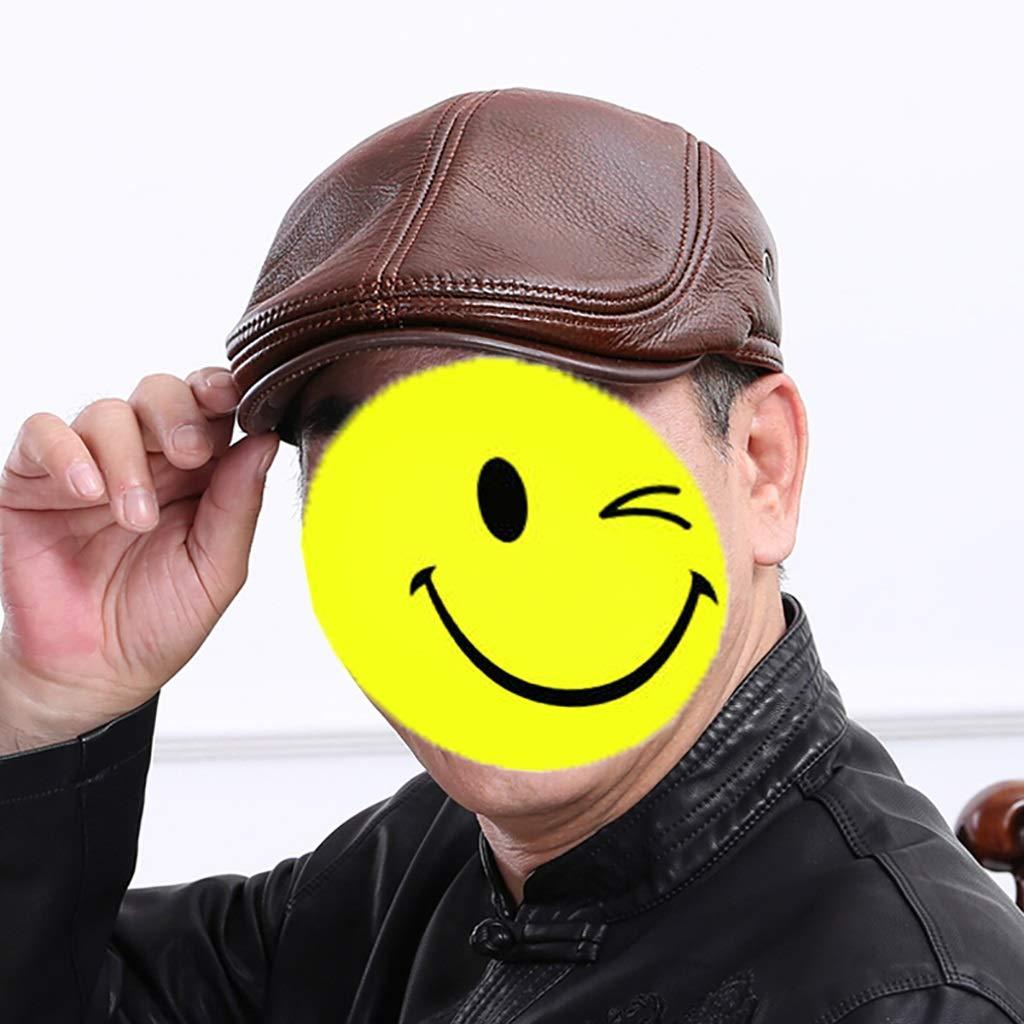 Ladies Hat 3 Colors Mens Beret Color : Dark Brown, Size : XL Forward Cap 3 Sizes Adjustable NUBAO Warm Cap Suitable for Middle-Aged Men
