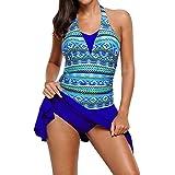 416c9bac318fe LAPOPNUT Women One Piece Swimsuit Swimdress V-Neck Halter Tummy Control  Backless…