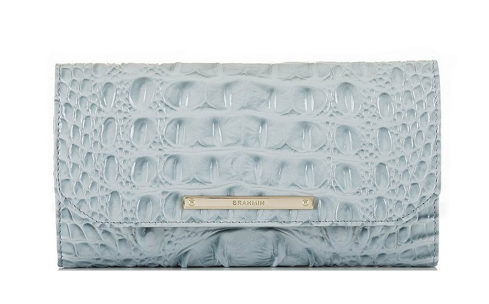 Brahmin Soft Checkbook Wallet Sky Melbourne Croco Emb Leather Clutch