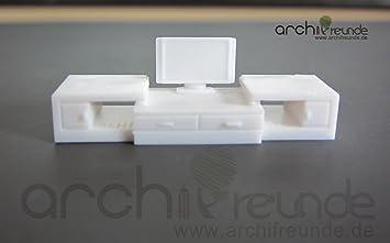 Modelleisenbahn Spur 0 1 Modell Möbel TV Set weiß für Modellbau 1:50