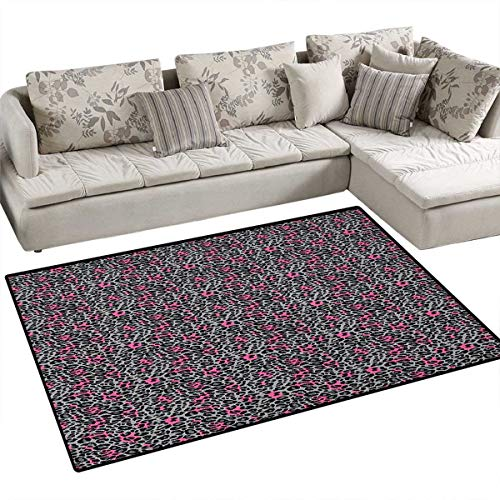 Leopard Print,Carpet,African Safari Animal Pattern Nature Inspired Fashion Cheetah Panther,Print Area Rug,Pink Grey Black Size:40