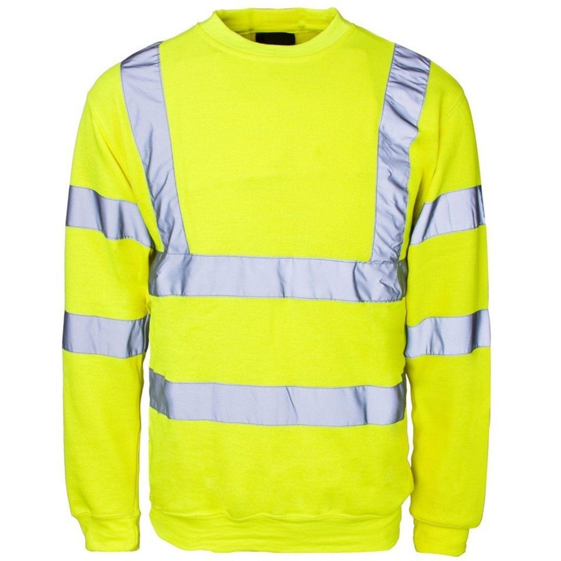 Mens Long Sleeve Hi Vis Sweatshirt with Ribbed Hem Neck Adults Work Wear Top Small-4XLarge MA ONLINE