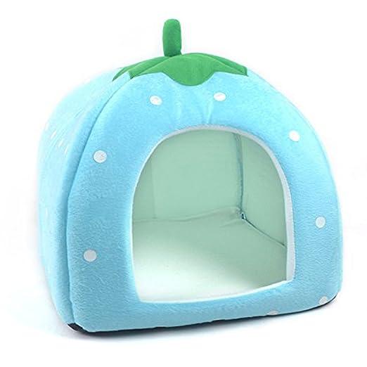 QZBAOSHU Encantador fresa Calentar Mascota Nido Perro Gato Cama Plegable Tamaño S-XXL (S, Azul): Amazon.es: Productos para mascotas