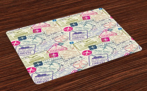 Ambesonne Travel Place Mats Set of 4, Passport and Visa Stamps Illustration of Toronto Hong Kong Berlin Print, Washable Fabric Placemats for Dining Table, Standard Size, Eggshell Pink