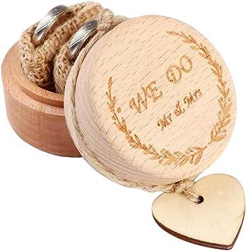AerWo - Caja de madera para anillos de boda, diseño rústico, ideal como regalo de boda para novia y novio: Amazon.es: Bricolaje y herramientas