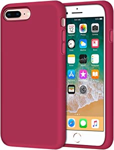 "Anuck iPhone 8 Plus Case, iPhone 7 Plus Case, Soft Silicone Gel Rubber Bumper Case Microfiber Lining Hard Shell Shockproof Full-Body Protective Case Cover for iPhone 7 Plus /8 Plus 5.5"" - Rose Red"