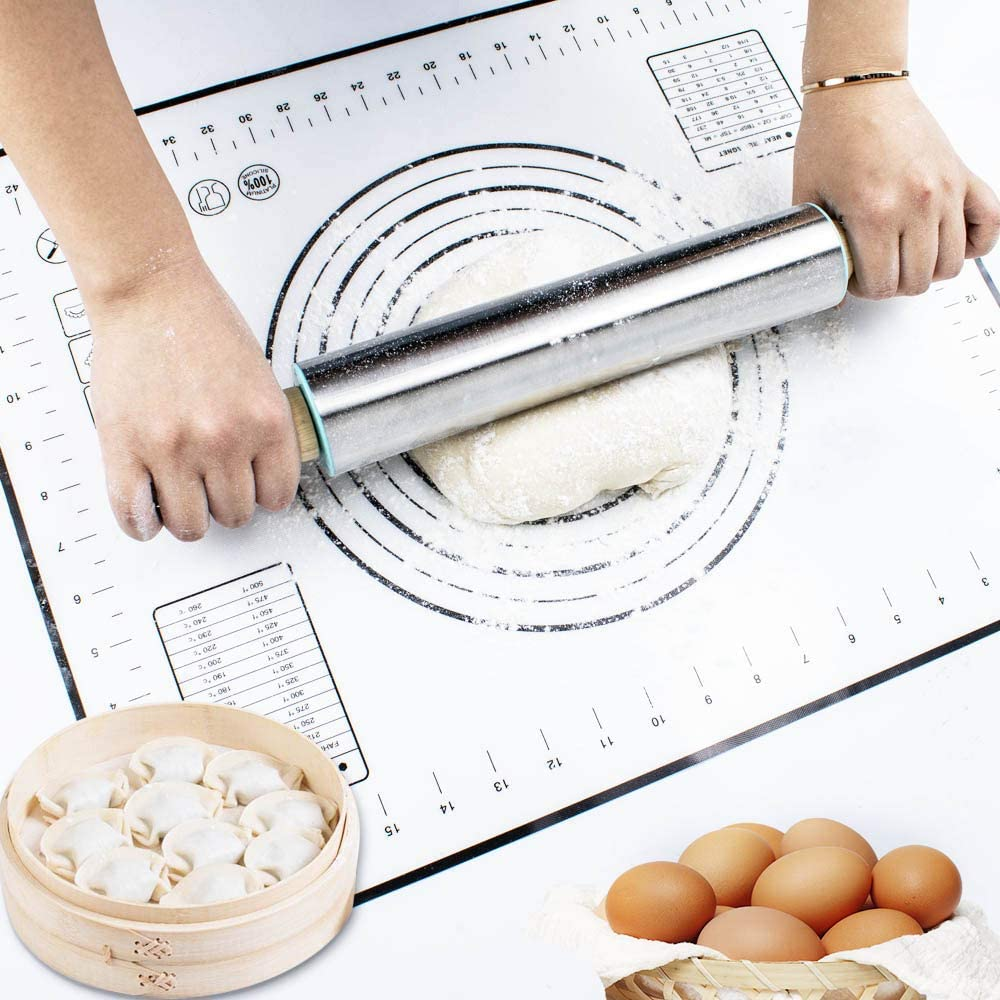 Coolnice Silicone Pastry Mat Extra Large Non Slip with Measurements Non Stick Dough Rolling Mat Silicone Pie Crust Mat For Fondant Pizza and Cookies 24x16 inch Black