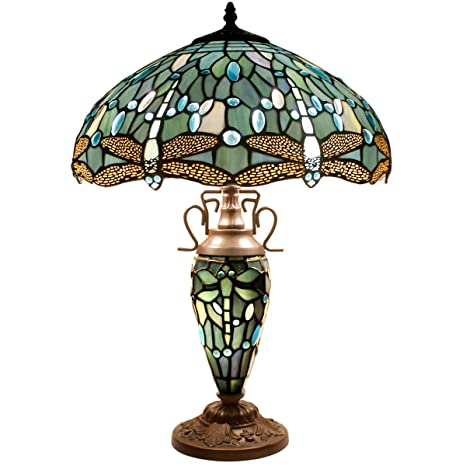 Tiffany Table Lamp 24 Inch Tall 3 Light Pull Chain Sea Blue Stained
