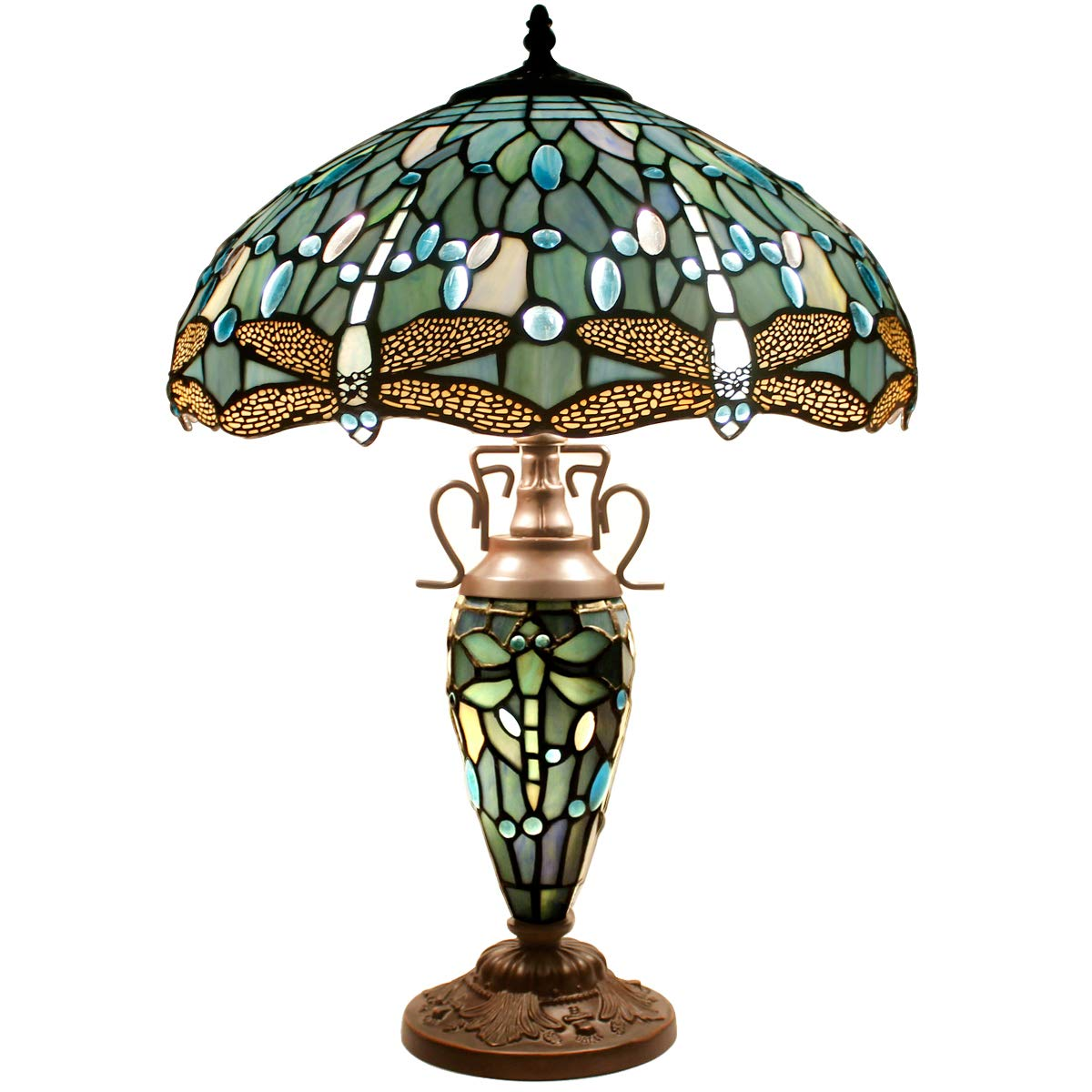 Tiffany Table Lamp 24 Inch Tall 3 Light Pull Chain Sea Blue Stained Glass Dragonfly Style Lampshade Beside Desk Lamp Antique Night Light Base for Living Room Coffee Table Bedroom S147 WERFACTORY