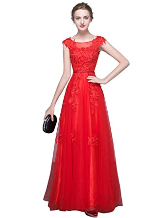 0db19d8692d8 Erosebridal Long Prom Dress with Lace Bodice Illusion Neck Cap Sleeve  Beaded Open Back A Line Evening Formal Dress for Women at Amazon Women's  Clothing ...