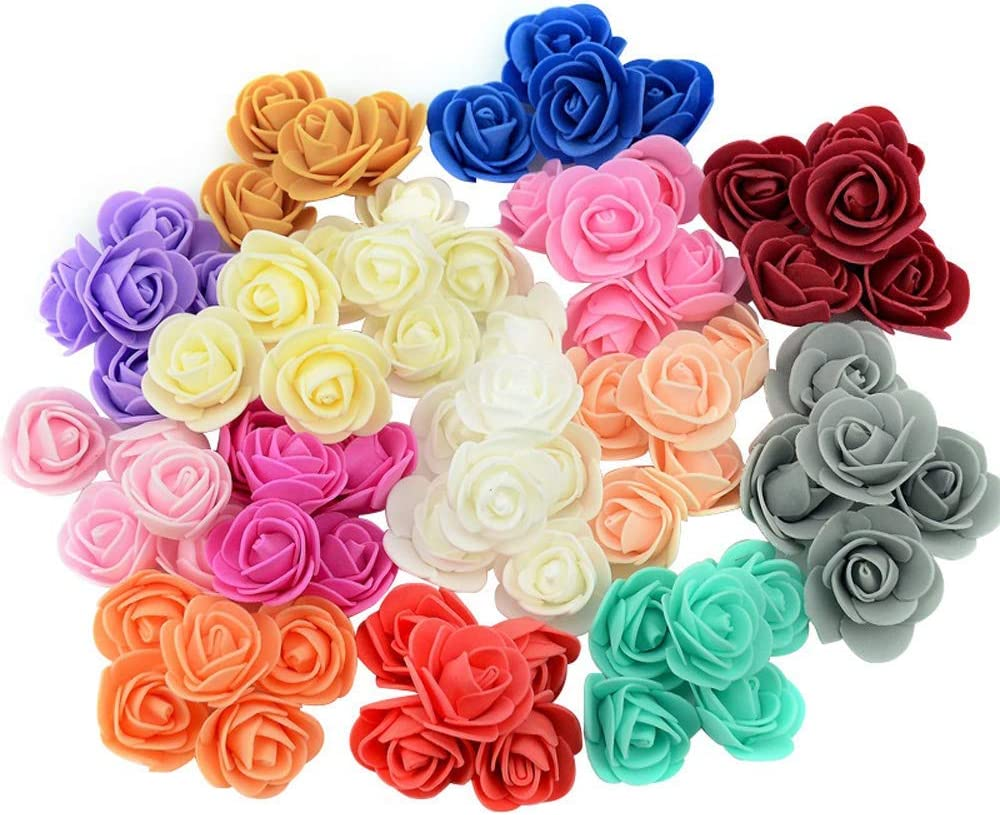 100pcs Mini Artificial PE Foam Rose Flower, Wedding Fake Flower, Handmade DIY Wedding Home Decoration, Wreath Craft(12)