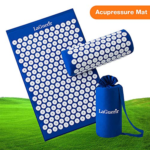 Acupressure Mat,Bed Grounding Mat Acupuncture Needles Back and Neck Pain Relief for Yoga and Travel,Relieves Stress,Lower Back Pain Relief (Blue) by Aquapro (Image #10)