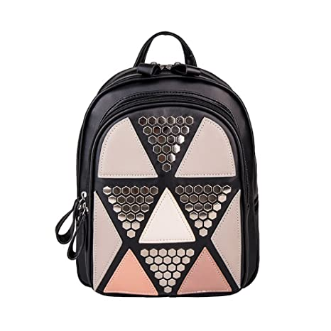 d22805523839 Walkroa Girls Sequin Pu Leather Backpack For Teenage Girls Patchwork School  Bags black backpack