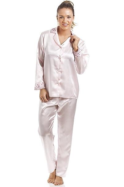 Camille - Conjunto de pijama satinado para mujer - Rosa 42/44