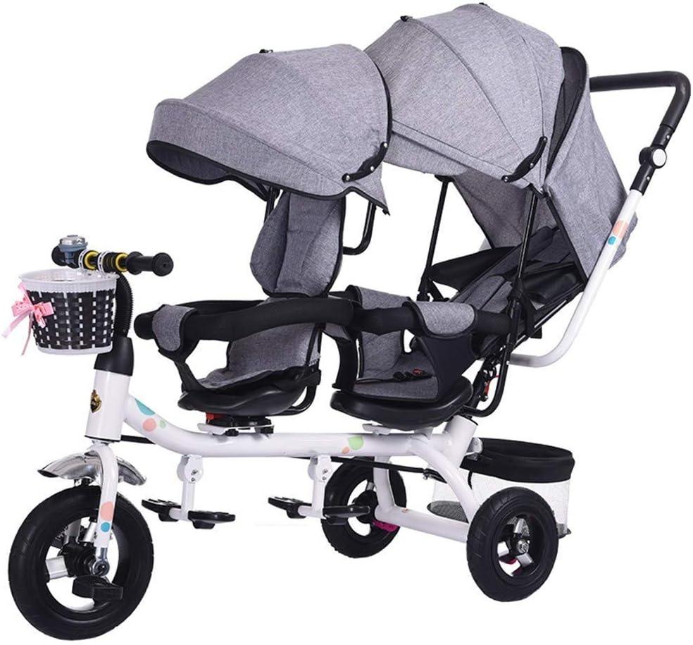 Sillones Mellizos Triciclos Niños Dobles Bicicletas Gemelos Carrito de bebé 1-7 años Coche de bebé
