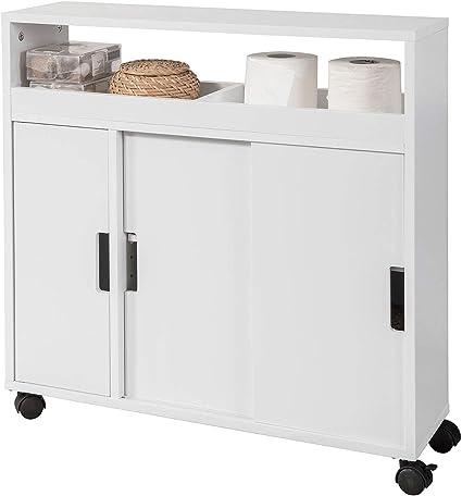 Sobuy Bzr02 W Meuble De Rangement Salle De Bain Armoire Wc Meuble Wc Pour Papier Toilette Porte Brosse Wc Amazon Fr Cuisine Maison