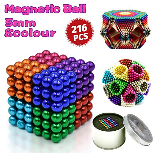 (HOMOFY 5MM 216 Pcs Multicolored Magnetic Balls Magnets Toys Sculpture Building Magnetic Blocks Cube Gift for Intellectual Development Office Toy Stress Relief Gift for Teens and Adult( 8 Color))