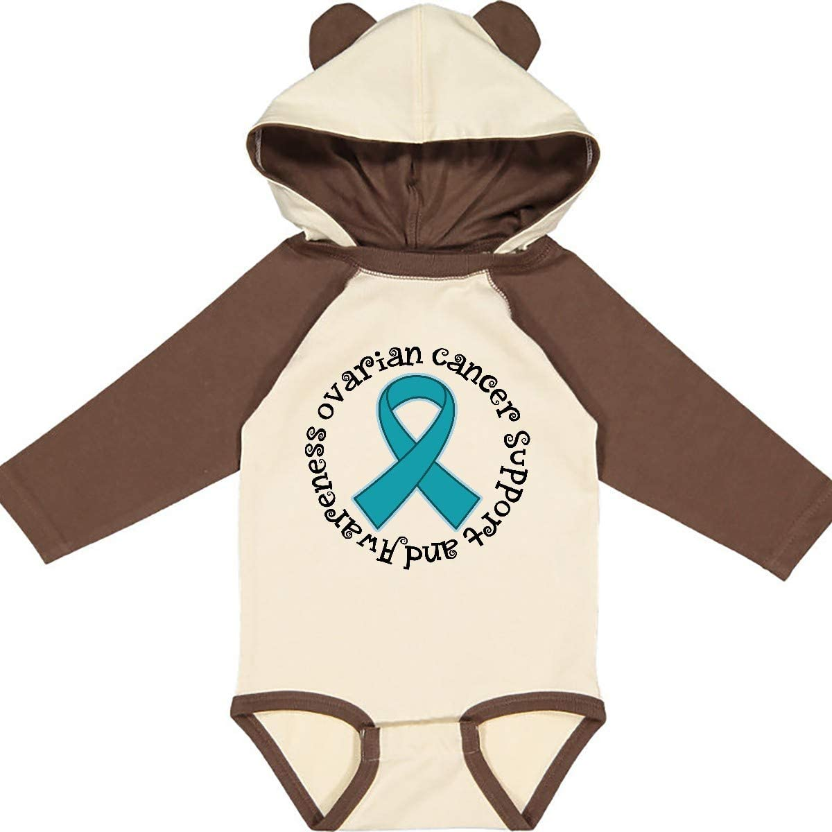 inktastic Ovarian Cancer Awareness Ribbon Long Sleeve Creeper