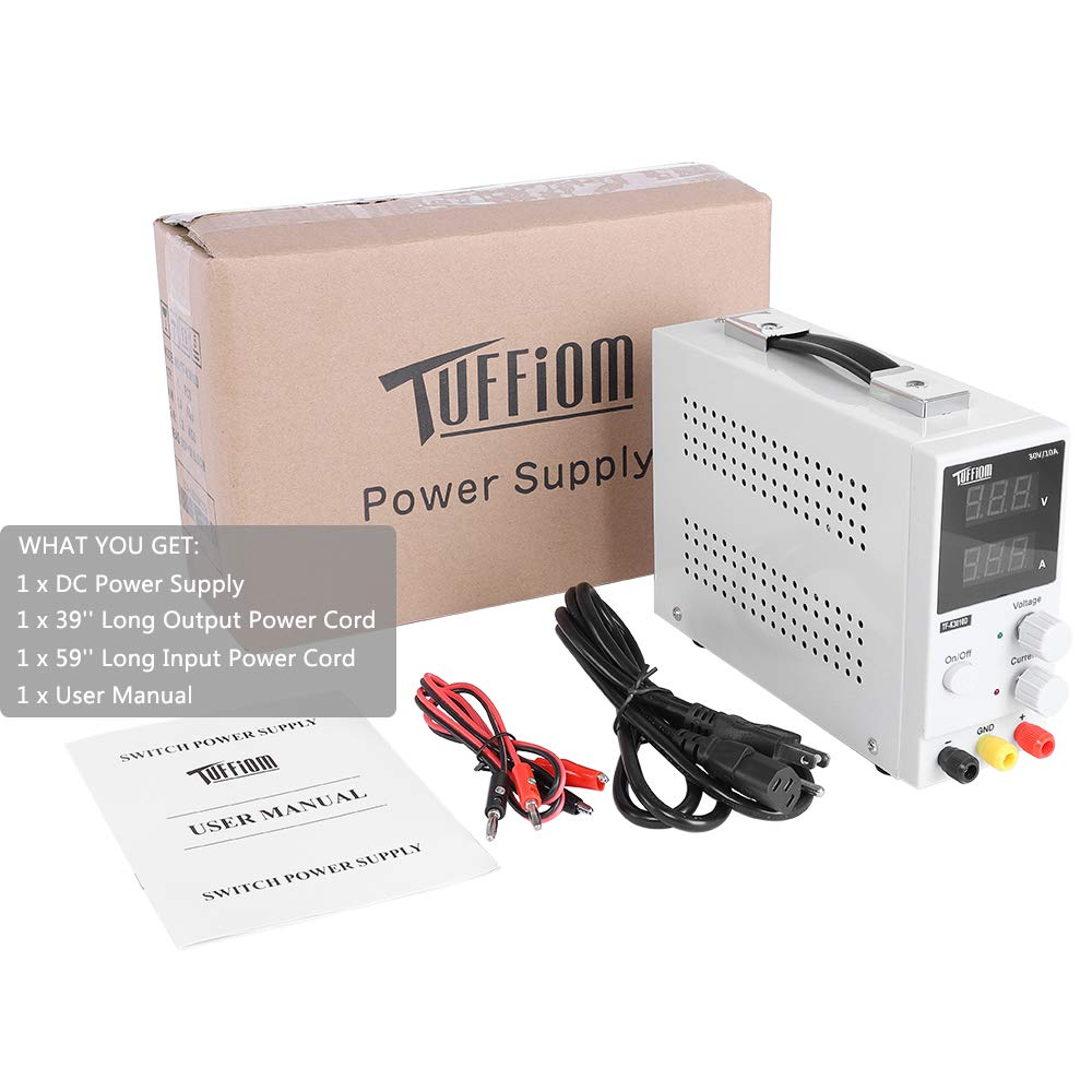TUFFIOM DC Power Supply Variable 0-10A/0-30V| Portable Adjustable Switching Regulated, 3 Digit LCD Display & Alligator Leads US Power Cord, for Lab/Electronic Repair/DIY/Aging Test, 110V/ 220V by TUFFIOM (Image #9)