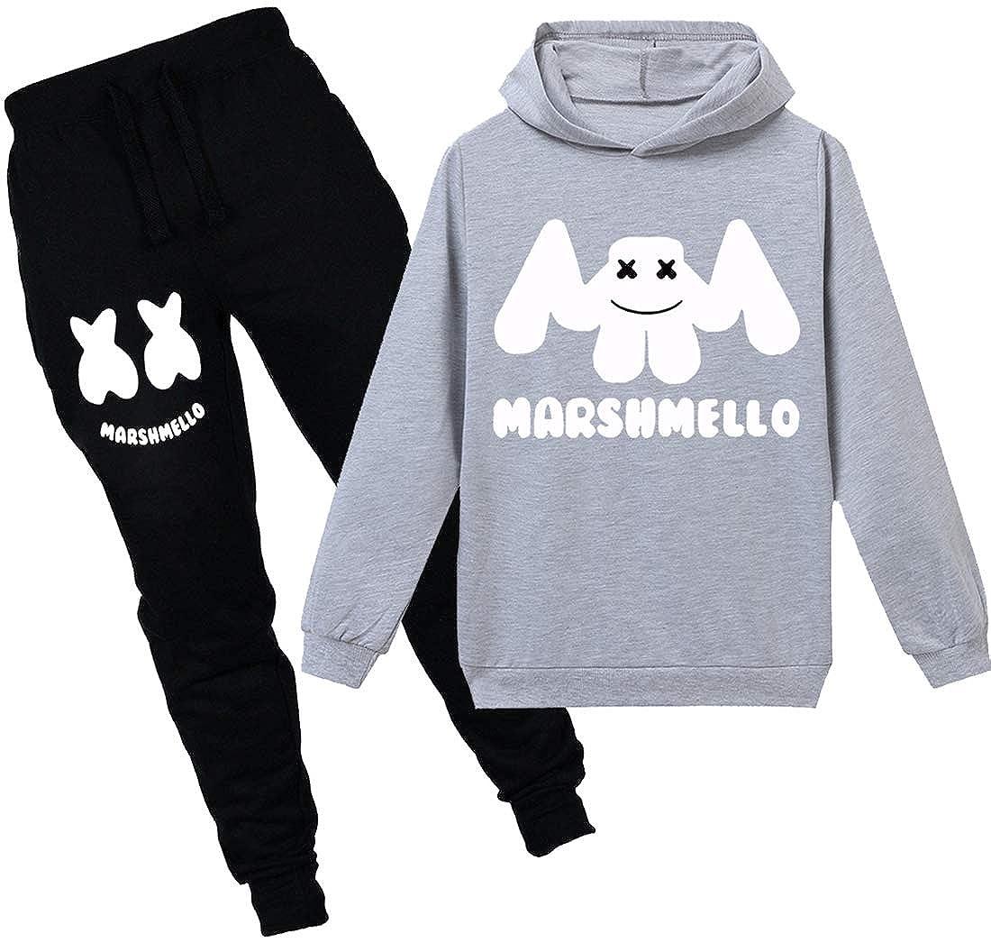 FLYCHEN Girlss Kids Marshmello Hoodie Tracksuits Long Sleeve Trousers and top Sets Sportswear Lovely Marshmello Helmet