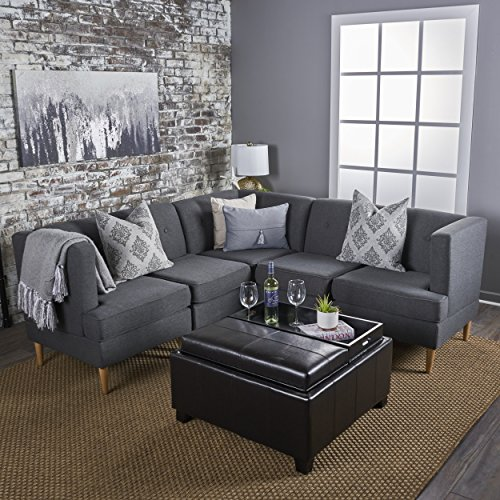 (Milltown 5pc Mid-Century Tufted Modular Sectional Sofa with Birch Wood Legs, Comfortable, Convertible & Interlocking Danish Modern Furniture Set - Navy Blue, Light or Dark Gray Fabric)