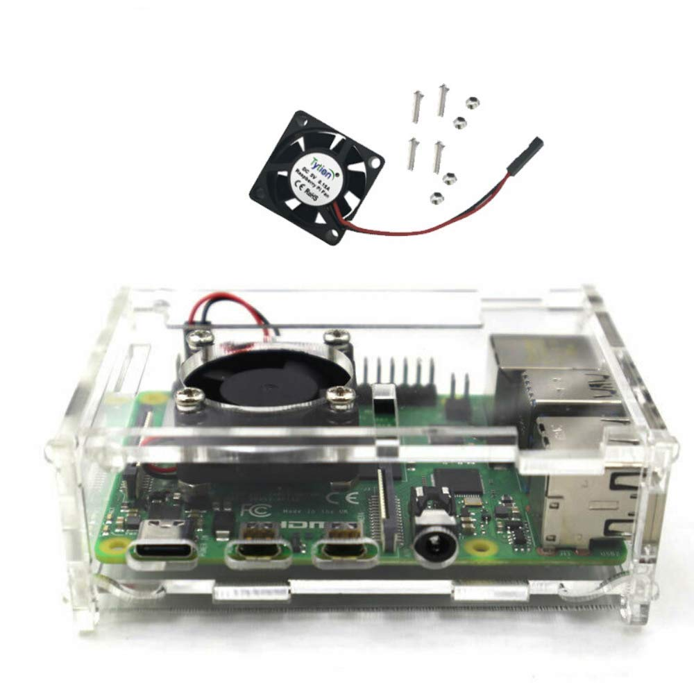 WINGONEER Acrylic Case with Cooling Fan for Raspberry Pi 4 Module B