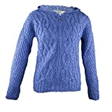 100% Irish Merino Wool Ladies Hooded Aran Zip Sweater by West End Knitwear Blue,Large