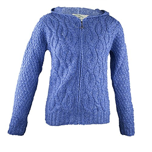 100% Irish Merino Wool Ladies Hooded Aran Zip Sweater by West End Knitwear Blue,Large by The Irish Store - Irish Gifts from Ireland