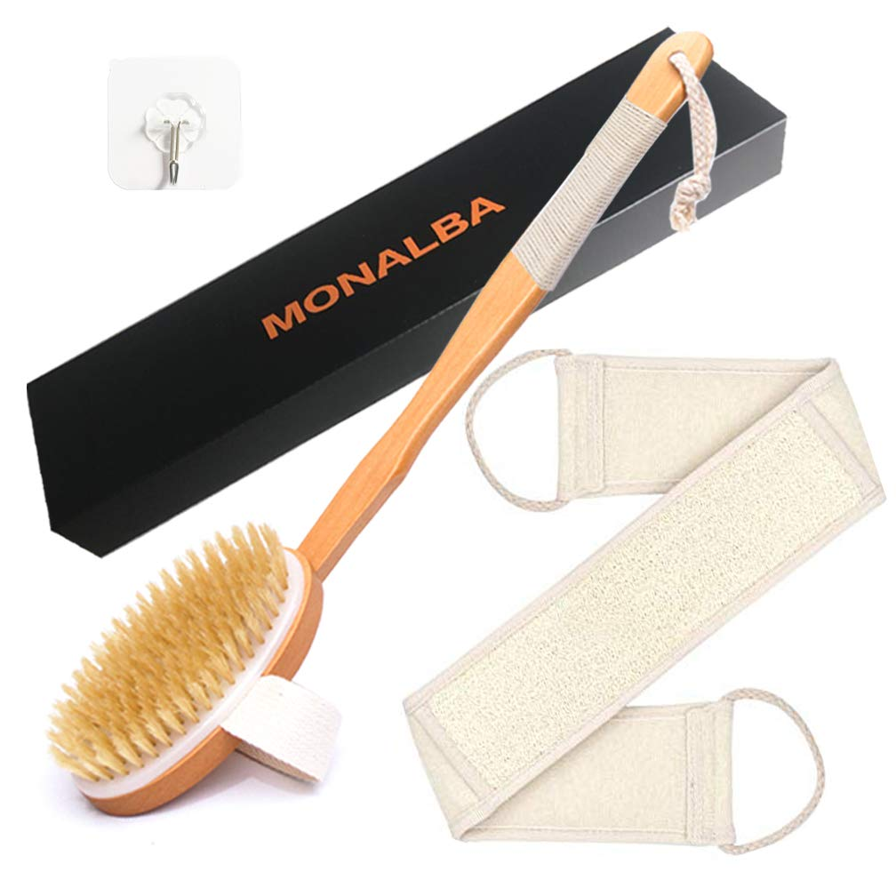Bath Brush - Loofah Back Scrubber- Shower Brush - Body Brush with Natural Bristles and Long Handle - Luxurious Wooden Shower Scrub - Excellent for Lymphatic Drainage Massage, Relieving Pressure, Dry Skin Exfoliating and Reducing Cellulite MONALBA