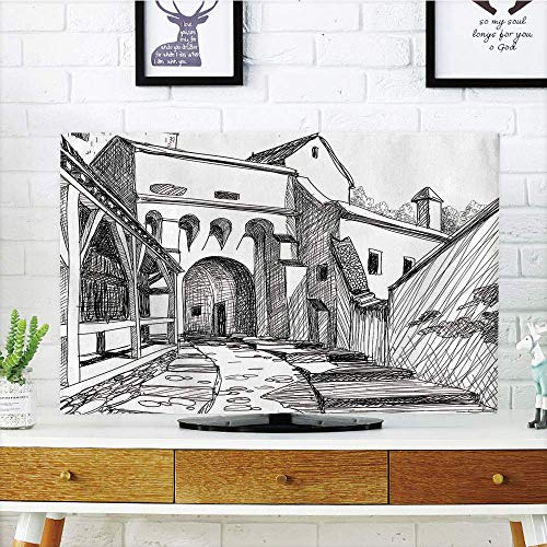 VAMIX LCD TV dust Cover,Medieval Decor,Medieval Citadel Sketch House of Legendary Vampire Dracula Old Mystical Tales Art Work,Black White,3D Print Design Compatible 50