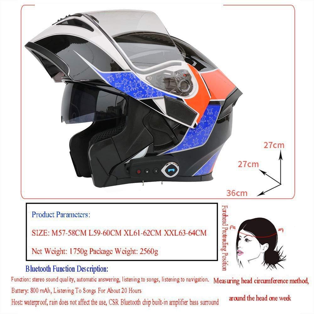 GNB Casque de Moto int/égral modulable Bluetooth int/égr/é
