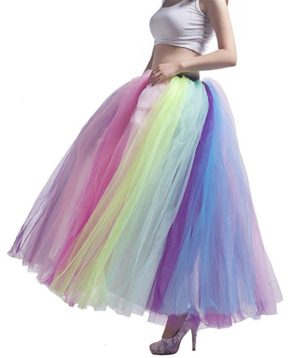 Noriviiq Women's Long Multi-Layer Tulle Rainbow Tutu Petticoat Skirt for Dance Party style1