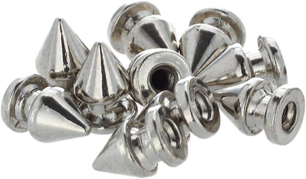 CUHAWUDBA 10x Kupfer 8 12mm Silber Killernieten Spitz Nieten Punk Ziernieten Schraubnieten