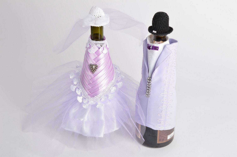 Decoracion para botellas de cava 2 trajes de novios artesanales originales: Amazon.es: Hogar