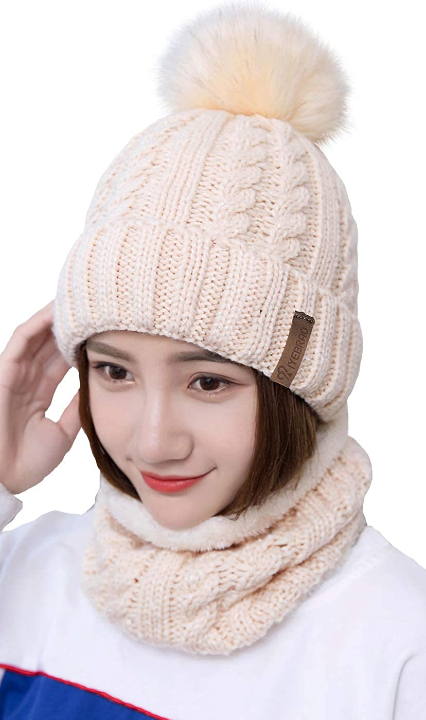 PAPABA Women Outdoor Thick Warm Solid Color Knitted Hooded Scarf Beanie Hoodie Scarf Circle Loop Scarf for Spring Autumn Winter