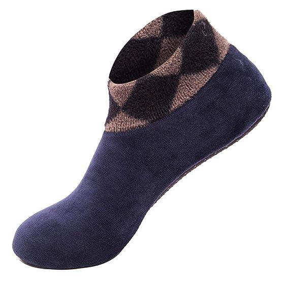 VJGOAL Mujeres Invierno moda casual color sólido Engrosamiento cálido Inicio calcetines antideslizantes calcetines tobillo piso elástico